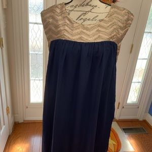 Altar'd State Gold and Navy Dress
